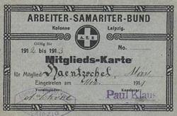 Mitgliedskarte des Arbeiter-Samariter-Bundes Kolonne Leipzig